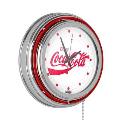 14 in. Enjoy Coke White Neon Wall Clock