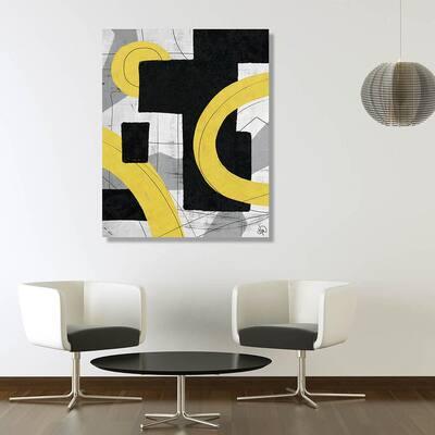20 in. x 24 in. Snakes Through Doorways Yellow Metal Wall Art Print