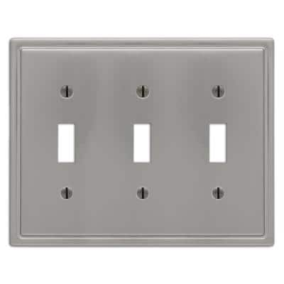 Moderne 3 Gang Toggle Steel Wall Plate - Brushed Nickel