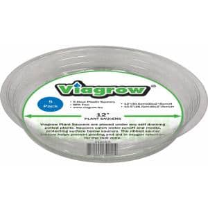 12 in. Clear Plastic Saucer (5-Pack)