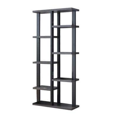 67 in. H Distressed Grey and Black Two-Tone Wood Display Bookcase with 8-Shelf