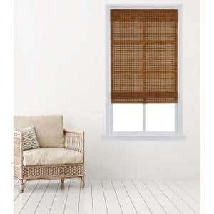 Oak Cordless Carbonized Bamboo Roman Shade 31 in. W x 64 in. L