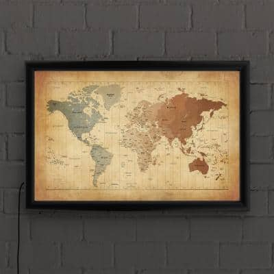 """""""Time Zones Map of the World"""" by Michael Tompsett Framed with LED Light Map Wall Art 16 in. x 24 in."""