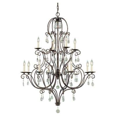 Chateau 12-Light Mocha Bronze Classic Rustic Crystal Hanging Empire Candlestick Chandelier