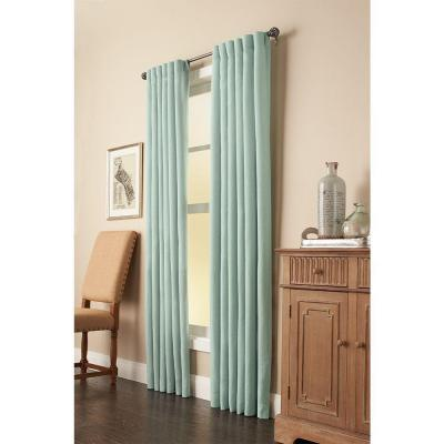 Mist Faux Linen Back Tab Room Darkening Curtain - 50 in. W x 108 in. L