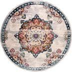 Quinn Saffron 7 ft. 10 in. x 7 ft. 10 in. Round Area Rug