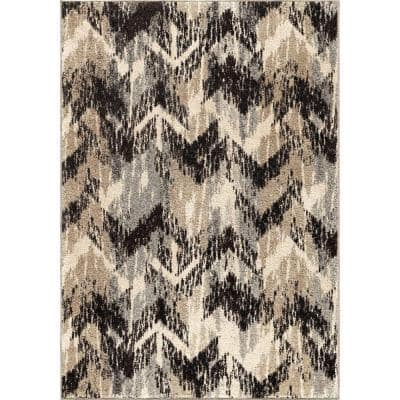 Twisted Sisters Gray 5 ft. x 8 ft. Plush Pile Chevron Indoor Area Rug