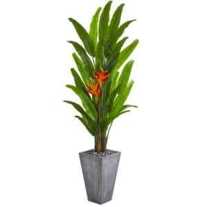 7 ft. Heliconia Artificial Plant in Cement Planter