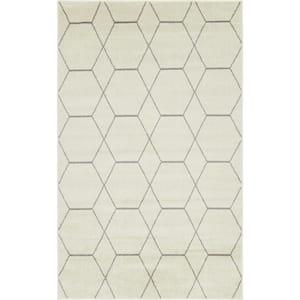 Trellis Frieze Ivory/Gray 5 ft. x 8 ft. Geometric Area Rug