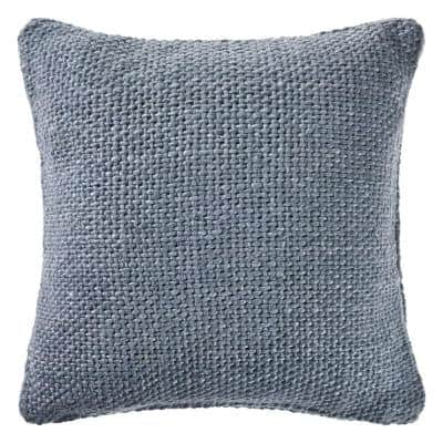 Wendy Frost Blue Woven Solid Casual Textured Poly-Fill 20 in. x 20 in. Throw Pillow