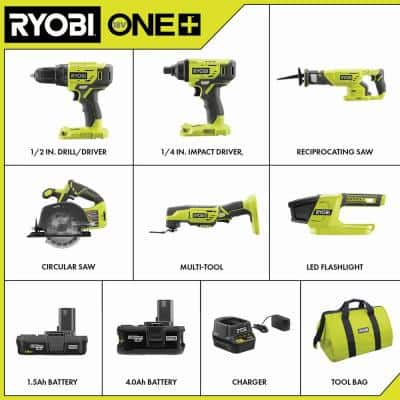 ONE+ 18V Lithium-Ion Cordless 6-Tool Combo Kit with (2) Batteries, Charger, and Bag