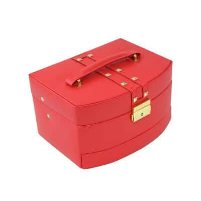 3-Level Hinged Red Leather Jewelry Box with Studs Includes Multi-Compartments Mirror Travel Roll and Locking Clasp