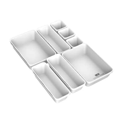 8-Piece Plastic Drawer Organizer Bins