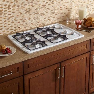 30 in. Gas Cooktop in White with 4 Burners