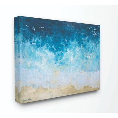 """36 in. x 48 in. """"Abstract Beach Waves Ocean Blue Painting"""" by Melissa Lyons Canvas Wall Art"""