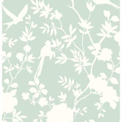 Luxe Haven Seaglass Mono Toile Peel and Stick Wallpaper Covers 40.5 sq. ft.