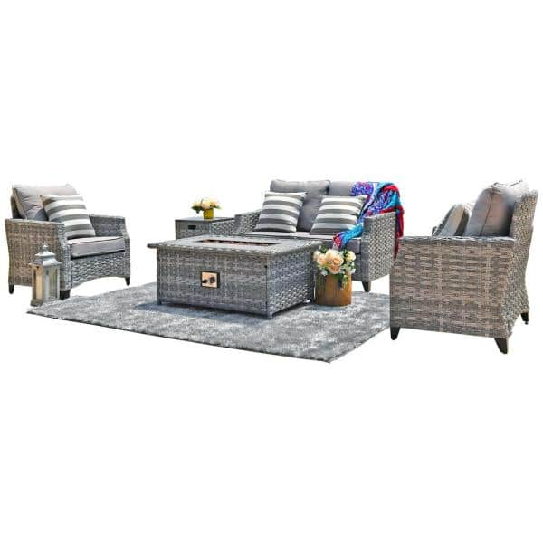 Moda Furnishings 5 Piece Wicker Patio Conversation Set With Gas Fire Pit Table And Gray Cushions Mof 1801 The Home Depot