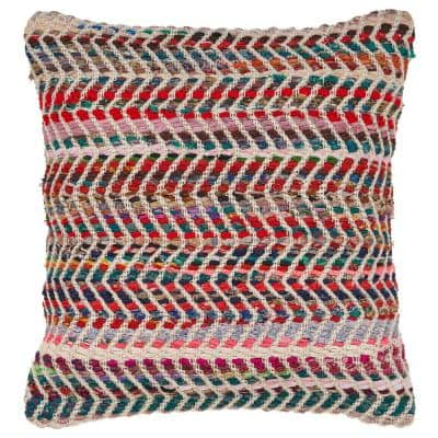 Zigzag Multicolored Geometric Hypoallergenic Polyester 18 in. x 18 in. Throw Pillow