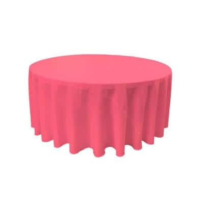 132 in. Hot Pink Polyester Poplin Round Tablecloth