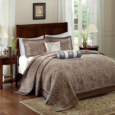 Whitman 5-Piece Blue King Reversible Jacquard Bedspread Set