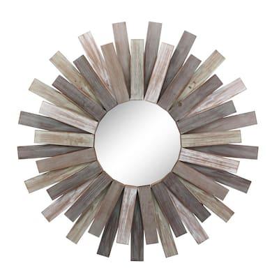 Medium Round Brown Contemporary Mirror (31 in. H x 31 in. W)