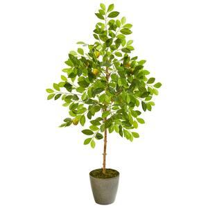 54 in. Lemon Artificial Tree in Olive Green Planter
