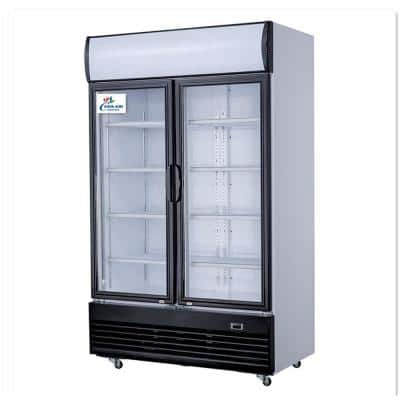 52 in. W 29 cu. ft. Commercial Refrigerator Merchandiser with 2-Swing Glass Doors in White Coated Steel