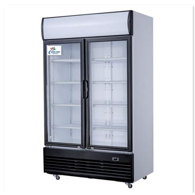 52 in. W 29 cu. ft. Two Glass Door Commercial Merchandiser Refrigerator in White Coated Steel