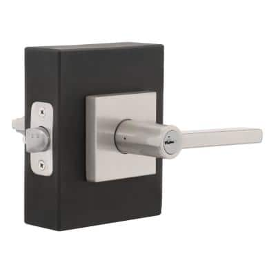 Halifax Satin Nickel Square Keyed Entry Door Lever Featuring SmartKey Security