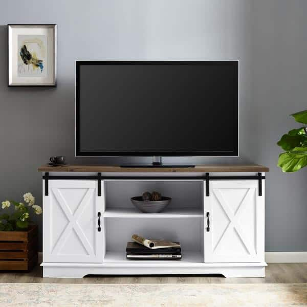 Beautiful Recycled Wood TV Stand with Barn Doors
