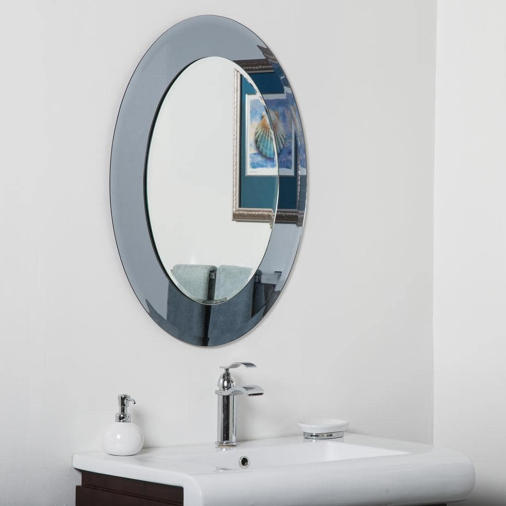 Decor Wonderland 24 In W X 32 In H Frameless Oval Beveled Edge Bathroom Vanity Mirror In Silver Dwsm500 86 The Home Depot