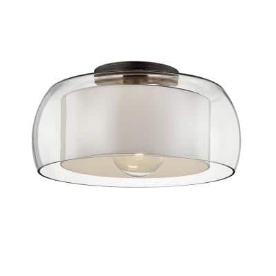 Candace 18 in. 1-Light Graphite Flush Mount with Clear Glass Shade