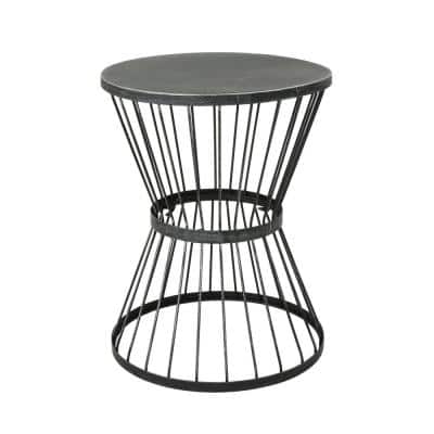 Lassen 21 in. Matte Black Round Metal Outdoor Side Table