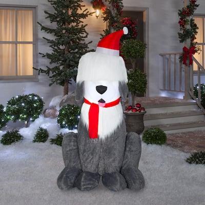 7 ft Pre-Lit LED Fuzzy Plush Sheep Dog Christmas Inflatable