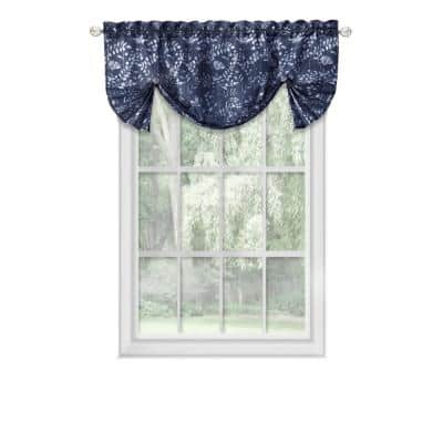 Charlotte 17 in. L Polyester Window Curtain Valance in Navy
