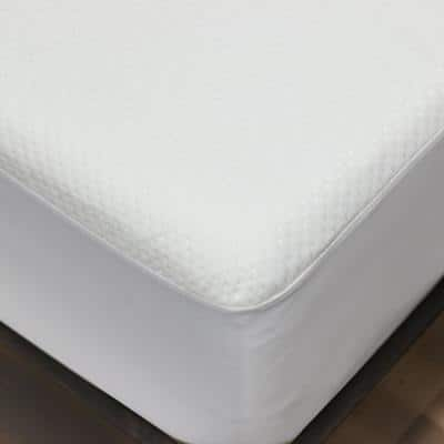Waterproof Queen Dimpled Knit Polyester Mattress Protector with Fitted Skirt