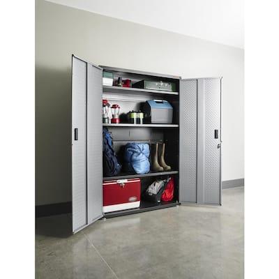 Ready-to-Assemble Steel Freestanding Garage Cabinet in Silver Tread (48 in. W x 72 in. H x 18 in. D)