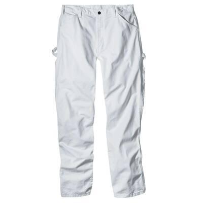 Men's White Relaxed Fit Straight Leg Cotton Painter's Pants 42x34