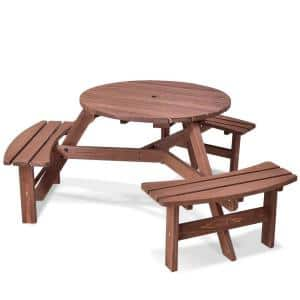 6-Person Wood Patio Picnic Table Beer Bench Set