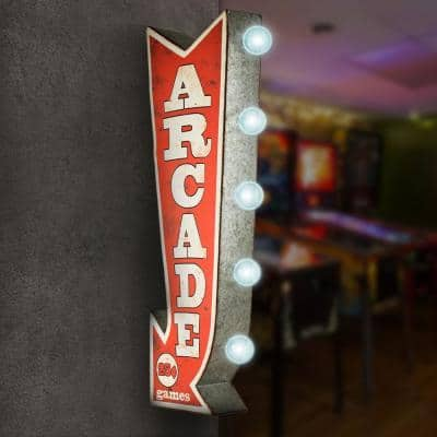 Arcade Games Metal Arrow Vintage Marquee LED Sign