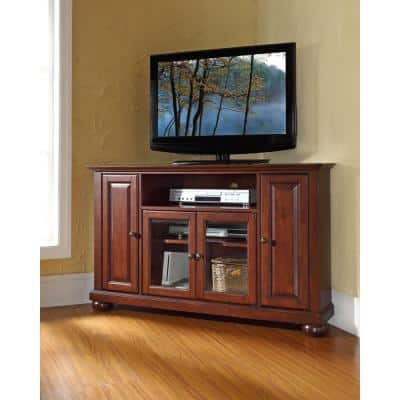 Alexandria 48 in. Mahogany Wood Corner TV Stand Fits TVs Up to 52 in. with Storage Doors