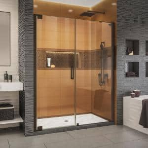 Elegance-LS 56-3/4 in. to 58-3/4 in. W x 72 in. H Frameless Pivot Shower Door in Oil Rubbed Bronze