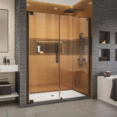Elegance-LS 62 in. to 64 in. W x 72 in. H Frameless Pivot Shower Door in Oil Rubbed Bronze