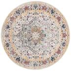 Evoke Ivory/Gray 7 ft. x 7 ft. Round Medallion Floral Area Rug