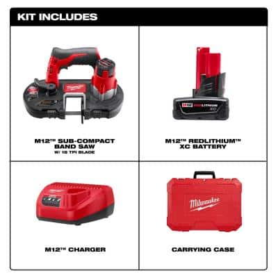 M12 12-Volt Lithium-Ion Cordless Sub-Compact Band Saw XC Kit with One 3.0h Battery, Charger and Hard Case