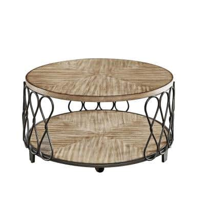 Belcourt 36 in. Brown/Gray Medium Round Wood Coffee Table with Casters
