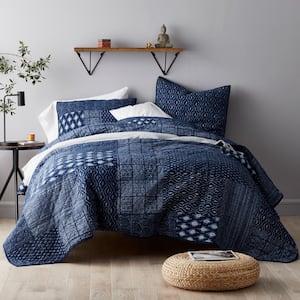 Dara Indigo Geometric Cotton Twin Patchwork Quilt