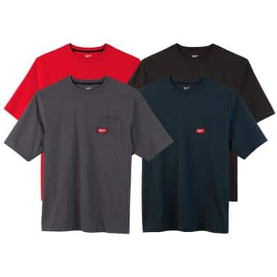 Men's Large Multi-Color Heavy-Duty Cotton/Polyester Short-Sleeve Pocket T-Shirt (4-Pack)