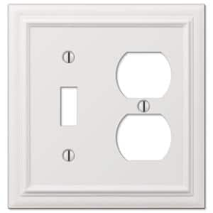 Continental 2 Gang 1-Toggle and 1-Duplex Metal Wall Plate - White