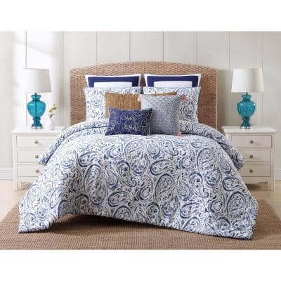 Indienne 3-Piece Blue and White King Comforter Set